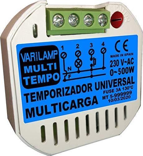 MULTI TEMPO 500. Temporizador UNIVERSAL para cualquier tipo de carga a 230VAC. Funciona mediante pulsador o interruptor. 500W Máx.