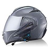 Cara Completa Casco Bluetooth Delantero Modular Abatible hacia Arriba Integrado Motocicleta Casco Protección con Doble Visera Aprobado Dot ECE I,M=57~58cm