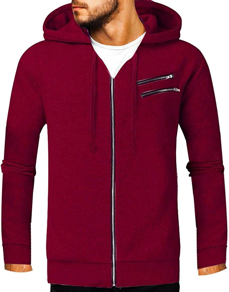 Mens Hooded Sweatshirt Coat Long Sleeve Zip-up Hoodie Tops Lightweight Cotton Blouse Casual Running Pockets Shirts