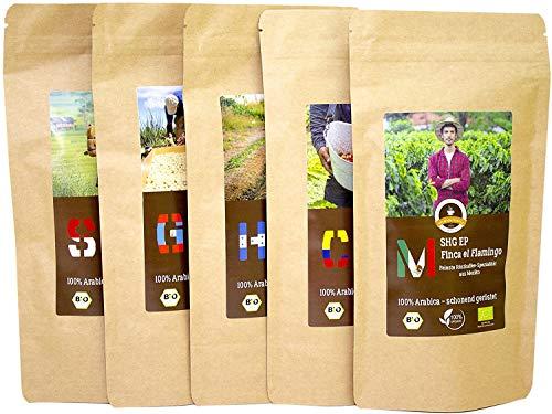 Kaffee Globetrotter - Bio 5 x 1 kg Sparpaket Probierpaket (Ganze Bohnen) - für Vollautomaten - 5 Sorten Raritäten Spitzenkaffee aus Biologischem Anbau (Ganze Bohnen)