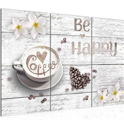 Runa Art Küche Kaffee Bild Wandbilder Wohnzimmer XXL Weiss Be Happy 120 x 80 cm 3 Teilig Wanddeko 020631c