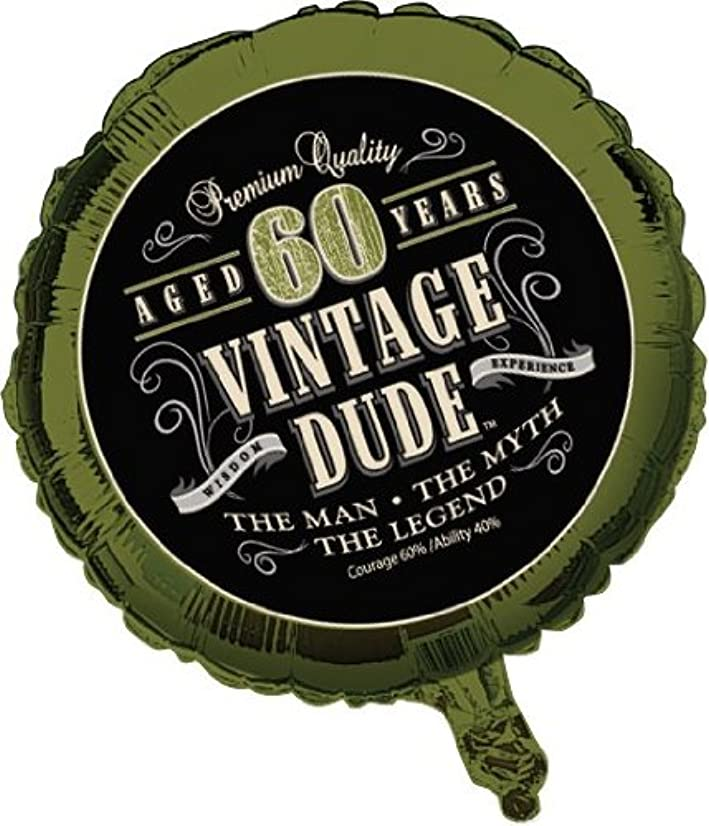 Creative Converting Vintage Dude 60th Birthday 2-Sided Round Mylar Balloon - 041667