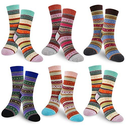 Damen Winter Warme Socken, 6 Paar Damen Winter Wollesocken, Stricksocke Damen Bunte Farben Baumwollsocken Einheitsgröße Atmungsaktiv Warm Weich