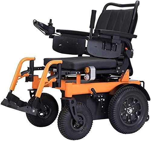 QZDDLY Elektro-Rollstuhl for Erwachsene, Off-Road Elektro-Rollstuhl, 4-Rad-Allradantrieb mit Liegefunktion und Kopfstütze for Ältere/Behinderte