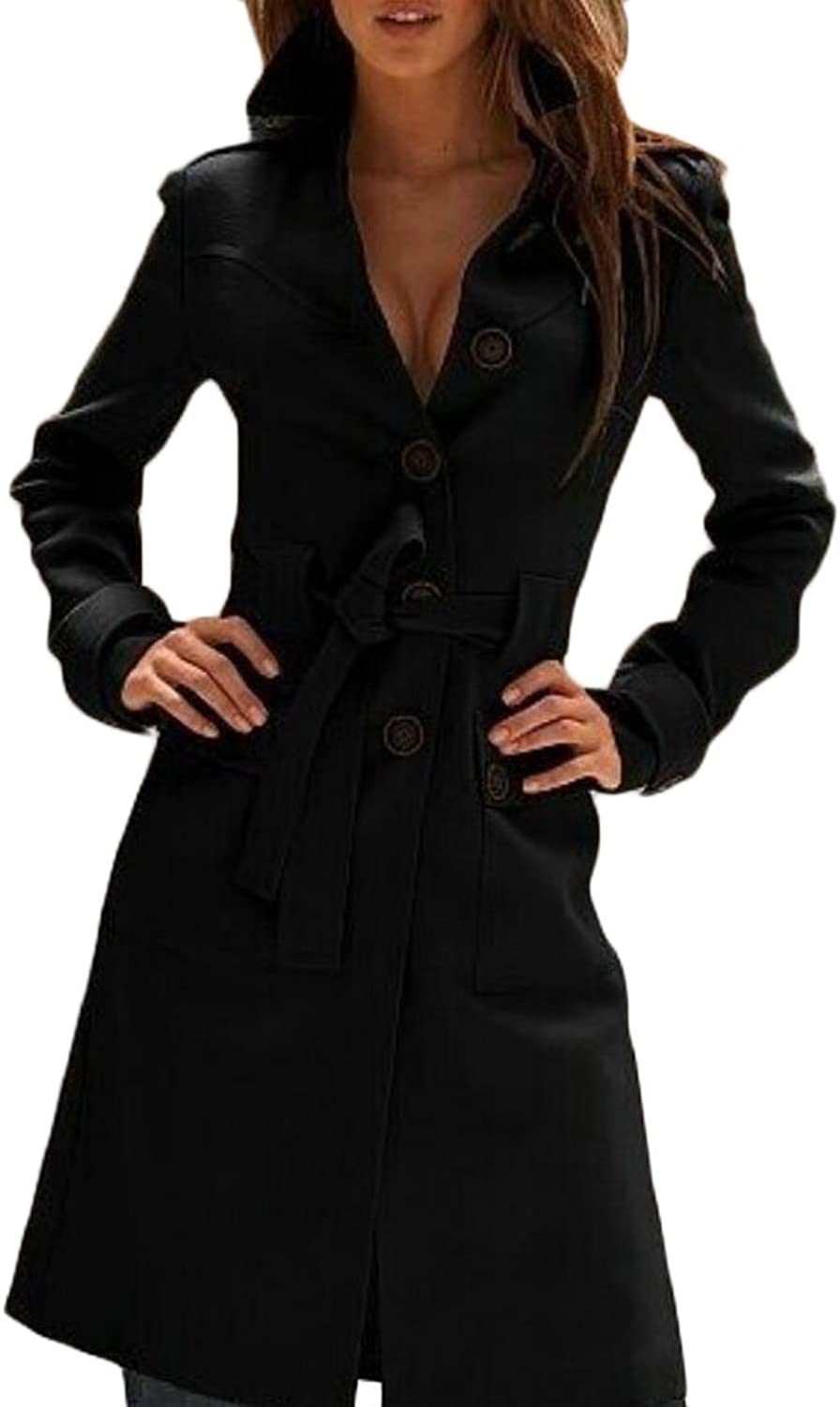 YYear Women's Casual Button up Belt Wool Blend Overcoat Trench Pea Coat Jackets