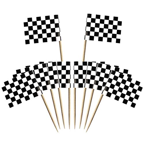 Wobe 100 Pack Racing Flag Toothpick Flags, Cupcake Flags Labeling Marking Cake Toppers Shower Decoration Dinner Flags Cocktail Sticks Markers for Cupcake Sandwiches Appetizers Cheese