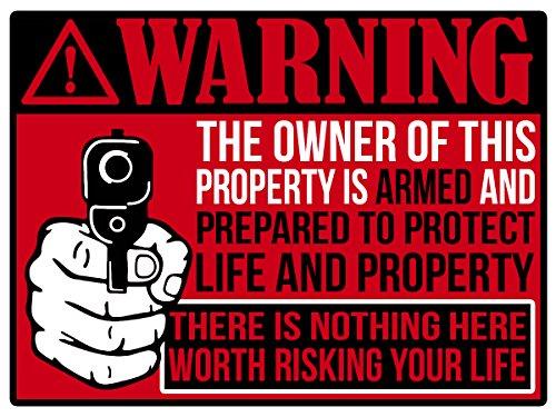"Back/Front Adhesive Indoor/Outdoor Sticker (2 Pack) 3"" X 4"" Protected by Armed Property Owner Home Business Window Door 2nd Amendment Gun Handgun Pistol Warning Decal Sticker Gun (RED)"