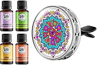 Wild Essentials Mandala Enamel Aromatherapy Car Vent Air Freshener Essential Oil Diffuser With Vent Clip 8 Color Pads 100%...