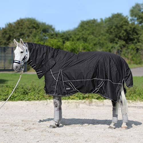 Horsenjoy Pferdedecke Regendecke Winterdecke Outdoordecke Paddockdecke mit Halsteil 300g 200g Füllung Aspen (135 cm, 300 g schwarz)