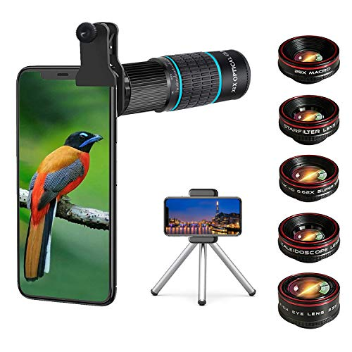 Phone Camera Lens Kit 10 in 1 for iPhone Samsung Pixel Android, 22X Telephoto Lens, 0.62X Super Wide Angle Lens&25X Macro Lens, 235° Fisheye,Kaleidoscopes, Starlight,Tripod,for Most Smartphone (Black)