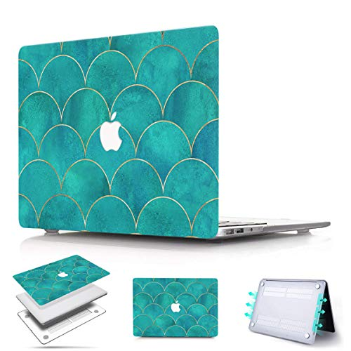 PapyHall New MacBook Air 13 inch Case 2018 2019 2020 Release A1932 A2179, Plastic Shell Case for MacBook Air 13-inch Retina with Touch ID Model: A2179 A1932 Green Arc