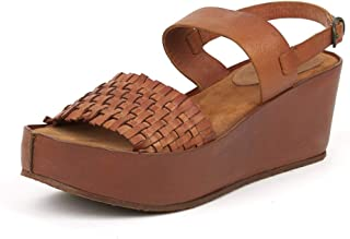 Saint G Womens Tan Leather Woven Design Wedges