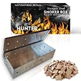 Grill Hunter Smoker Box for Gas Grilling or Charcoal BBQ Grill Smoky Barbecue Flavored Grilled Meat BBQ Accessories Heavy Duty Stainless Steel Wood Chips Box