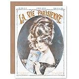 Artery8 La Vie Parisienne Woman Reading Magazine Cover Sealed Greeting Card Plus Envelope Blank Inside París Mujer Portada de la Revista Cubrir