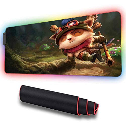 RGB Mouse Pad for Teemo, Nonskid Rubber Base, Waterproof,Smooth Gaming Surface,10 Lighting Modes,LED Soft Extended Mouse Mat,Desk pad,for Computer 11.8x31.5 inch