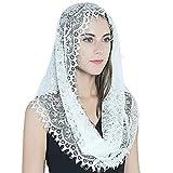 OSELLINE Encaje Mantilla velo suave y cómodo 2 colores blanco y negro estilo español rosa encaje velo cabeza cubierta bufanda blanco