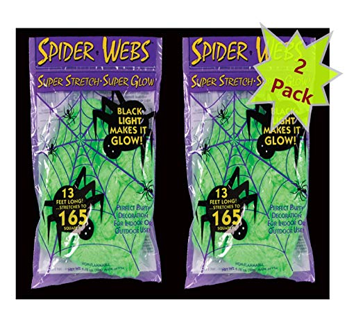 Green 13 ft Long Super Stretch Scary Spider Web...