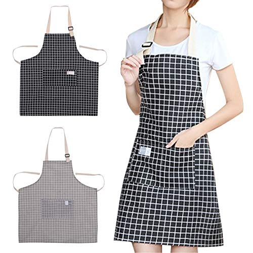 Apron, Adjustable Linen Aprons for Women and Men, Waitress Apron with Pockets for Restaurant, Cafe, Kitchen Chef Apron for Home, Cooking, Baking, Household Cleaning Bib (2 Pack Black and Gray Plaid)