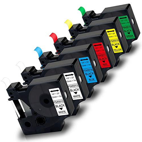 6X Pristar 12mm Etiquetas Compatible para Dymo 45013 45013 45016 45017 45018 45019 para Dymo LabelManager 210D 160 280 360D PnP LabelWriter 450 Duo, Negro sobre Blanco/Blanco/Azul/Rojo/Amarillo/Verde