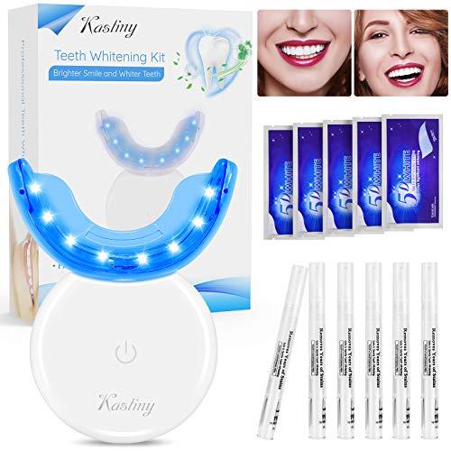 Zahnaufhellung Set, Kastiny Professional Teeth Whitening Kit mit LED-Licht, 6 Zahnaufhellung Stift und 5 Bleaching Zähne Strips, Wiederverwendbares Home Bleaching Kit für Weisse Zähne