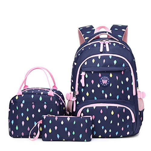 YoLiy Girls' Backpack Girls School Backpack Teens Bookbag Set Kids bag School Laptop Backpack with Lunch Box Purse (Color : Dark blue, Size : 19inch)