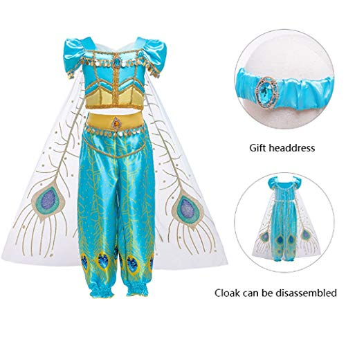 YONGMEI Tanz-Outfit Kinder Tanz-Kostüm Cosplay Ala Shin Ding Jasmin Prinzessin Jasmin Aladdin Kostüm, blau, 150