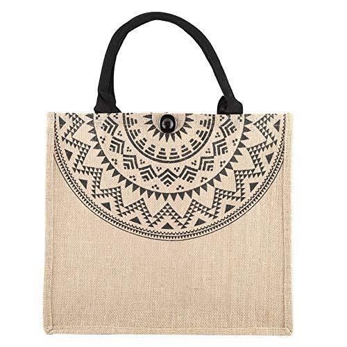 TOPINCN Shopping Bag Herbruikbare Versterkte Handvat Boodschappentas Vintage Square Gunny Bag Jute Handtas Opslag Winkelwagen Schoudertas