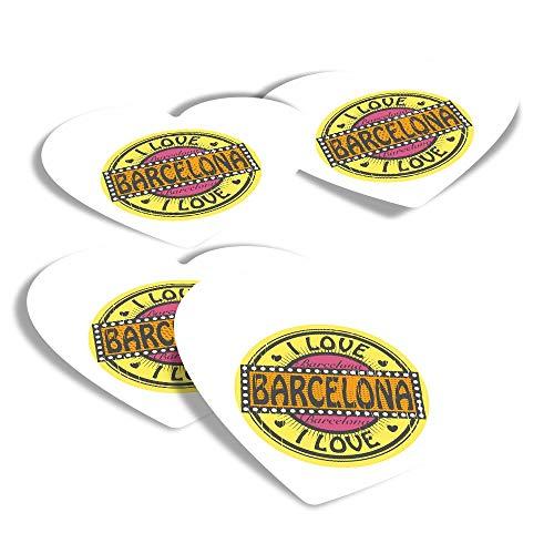 Pegatinas de vinilo con forma de corazón (juego de 4) – I Love Barcelona España – Calcomanías divertidas para portátiles, tabletas, equipaje, reserva de chatarra, frigoríficos #5704