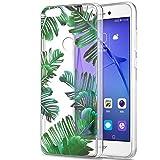 Funda Huawei P8 Lite 2017, Eouine Cárcasa Silicona 3D Transparente con Dibujos Diseño Suave Gel TPU [Antigolpes] de Protector Bumper Case Cover Fundas para Movil Huawei P8Lite 2017 (Hojas)