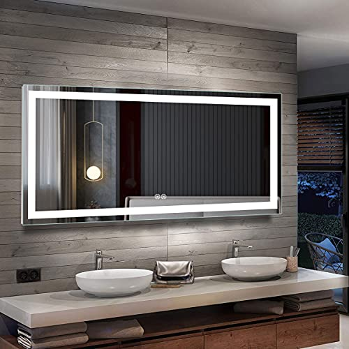 71 x 32 in Horizontal Dimmable LED Bathroom Mirror with Anti-Fog, Dimmable and Bluetooth Function Vertical and Horizontal Mount (E-CK010-7032-TX)
