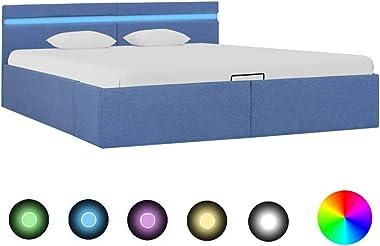 vidaXL Cadre de Lit à Stockage Hydraulique et LED Lit Rembourré Lit Double Lit Adulte Lit Coffre Chambre à Coucher Maison Int