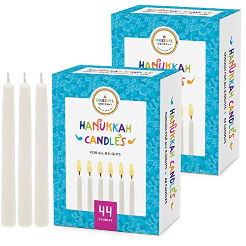 The Dreidel Company Menorah Candles Chanukah Candles 44 White Hanukkah Candles for All 8 Nights of Chanukah (2-Pack)