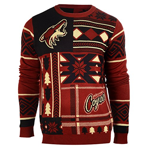 Arizona Coyotes Patches Ugly Crew Neck Sweater Large