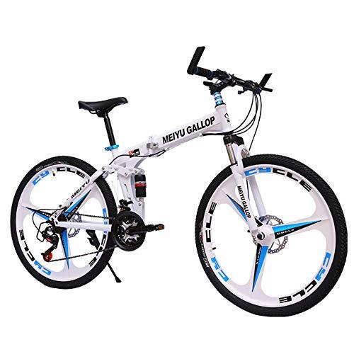 @Y.T Faltbares Mountainbike für Herren, 24/26 Zoll doppelter Stoßdämpferrahmen aus Kohlenstoffstahl mit hartem Heck Verstellbarer Sitz 21/24/27/30 Geschwindigkeit Doppelscheibenbremsen