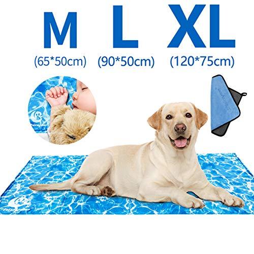 Tappetino Refrigerante per Cani Raffreddamento Tappetino Rinfrescante per Persone Cane Gatto Animali in Gel Atossico Autorinfrescante Materassino Cani Cuscino Lettino Divano in Estate (XL:120x75CM)