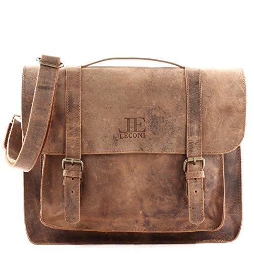 LECONI Messenger Bag Aktentasche DIN A4 Collgetasche Damen Herren Echtledertasche Retro Vintage...