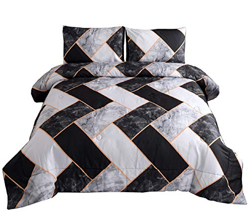 Meeting Story Marble Geometry Pattern Bedding Set,Black Grey Abstract for Man Woman Comforter Sets,Queen Size with 2 Pillow Cases (Black-Grey-Rectangle)