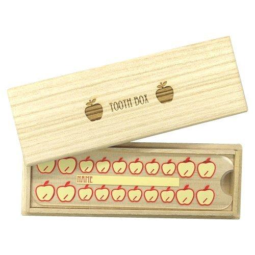乳歯ケースりんご【高級桐天然木使用】/抜けた年月日・お名前記入用アクリル板付