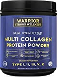Premium Hydrolyzed Multi Collagen Protein Powder by Warrior Strong Wellness High Quality Blend of Grass Fed Beef Cage Free Chicken Wild Fish Eggshell Keto Providing Type I II III V 3rd Party Tested