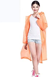 CHUNJIAO Raincoat Poncho Eva Material Transparent Reusable Portable Rainproof Outdoor Hiking raincoat Stylish, beautiful transparent raincoat. (Color : Orange)