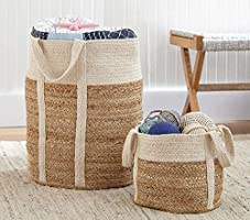 PartyStuff Home Jute Cotton Basket, Handcrafted Woven Storage Planter Basket for Home Decor, Multi-Purpose Bag with...