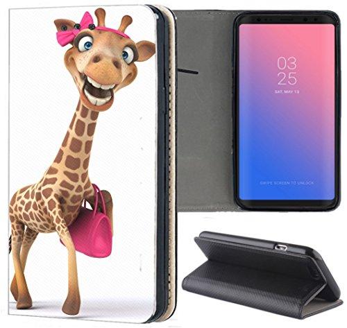 Handyhülle für Samsung Galaxy A3 2016 Premium Smart Einseitig Flipcover Flip Case Hülle Samsung A3 2016 Motiv (1617 Giraffe lustig mit Handtasche Pink)