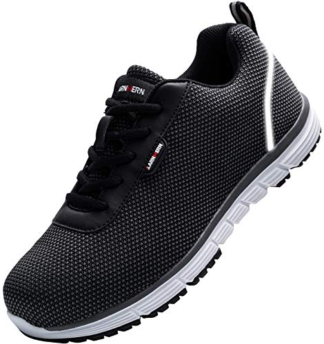LARNMERN Steel Toe Shoes Men, Work Safety Sneakers Lightweight Industrial & Construction Shoe(10.5 Women/8.5 Men/Black/White)