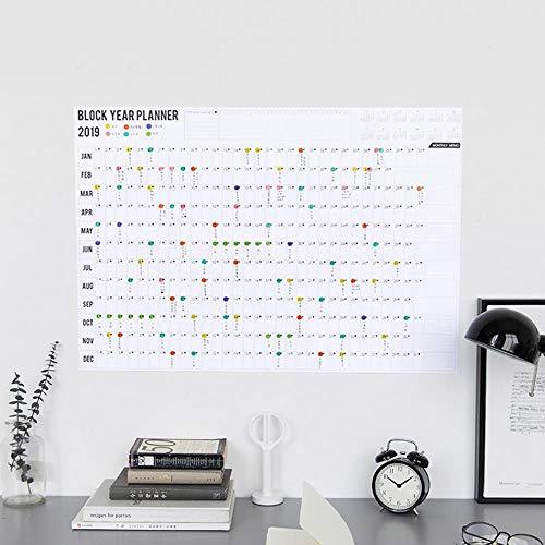 2019 Block Jahresplaner Tagesplaner Papier Wandkalender mit 2 Bögen EA Zeichen Aufkleber für Büro Schule Zuhause Wie abgebildet