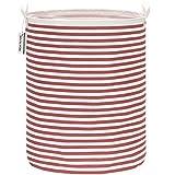 Sea Team - Cesta de almacenamiento de lona de arpillera cilíndrica de 19,7 pulgadas con revestimiento impermeable de gran tamaño, tela de algodón de ramio, plegable, con diseño de rayas rojas