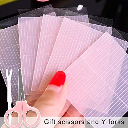 260 stks Onzichtbare Waterdichte Eyelid Sticker Fiber Tape, Dubbelzijdige Zelfklevende Eyelid Tape Gemakkelijk Kleurplaten met Y Vorken + Schaar (0.5mm)