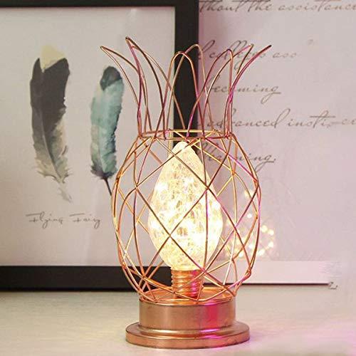 Metall Tischlampe,SUAVER Ananas Tischlampe Glühbirne Nachtlicht Nachttischlampe,Dekorative Tischleuchte,batteriebetrieben Schreibtischlampe kreative Nachtlicht dekorative Beleuchtung (Roségold)
