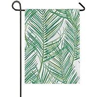 JIRT 28x40 Pulgadas Patrón de Hoja de Palma Tropical Decoración Bandera de jardín Bienvenido Banner de Patio de Regalo de Doble Cara