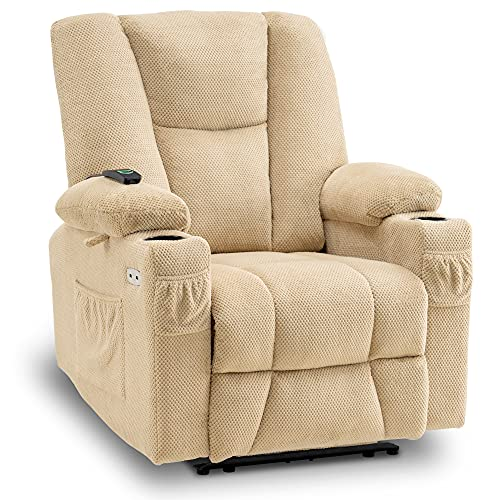 Mcombo Fabric Electric Power Recliner Chair with Heat and Massage, Cup Holders, USB Charge Ports, Extended Footrest, Cloth Powered Reclining for Living Room 8015 (Not Lift Chair) (Beige)
