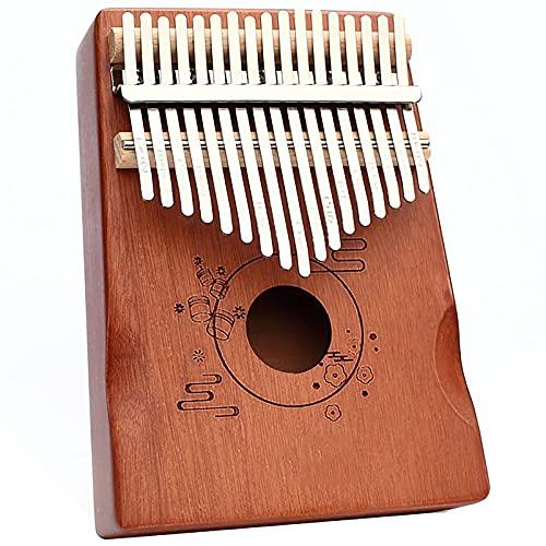 Kalimba Piano Dedo 17 Key Instrumento Percusión Pandereta De Caoba Piano De Pulgar Amante De La Música Kit De Aprendizaje Para Principiantes Y Martillo De Afinación Wood color